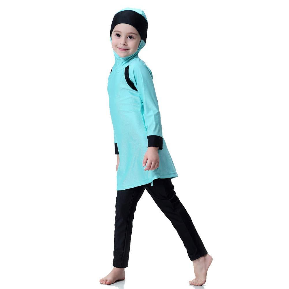 30a237ea41e65 Amazon.com  KXCFCYS Muslim Swimwear for Kid Girls Children Modest Islamic  Hijab Swimsuits Burkini  Clothing
