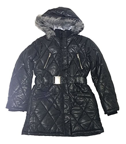 Dkny Puffer Jacket - DKNY Girls Hooded Faux Fur Puffer Jacket, Black, Large