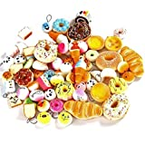 YIXUAN 20 Pcs Randomly Style Soft Slow Rising Squishy Bread for Phone Charms Strap Key Bag Chain Squishies Charms