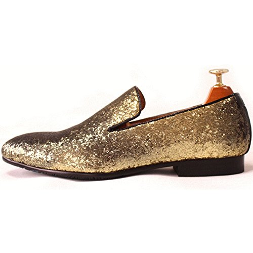 Men Genuine Leather Mens Metallic Textured Slip-on Glitter Loafers Shoes(12 D(M) US, Gold)