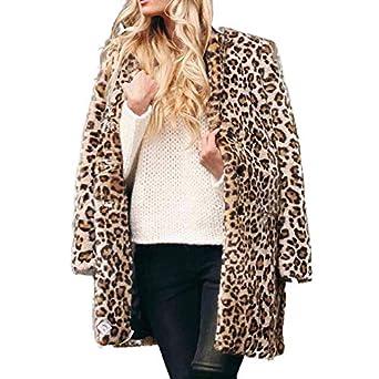 Linlink Mujeres Leopardo Caliente de Lana Artificial Abrigo Solapa Chaqueta de Invierno Parka Abrigos: Amazon.es: Ropa y accesorios