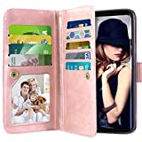 Galaxy S9 Case, Vofolen Galaxy S9 Case Wallet Detachable Card Holder Folio Flip Cover PU Leather Case Magnetic Protective Shell Heavy Duty Protection TPU Bumper Armor Case for for Galaxy S9 -Rose Gold