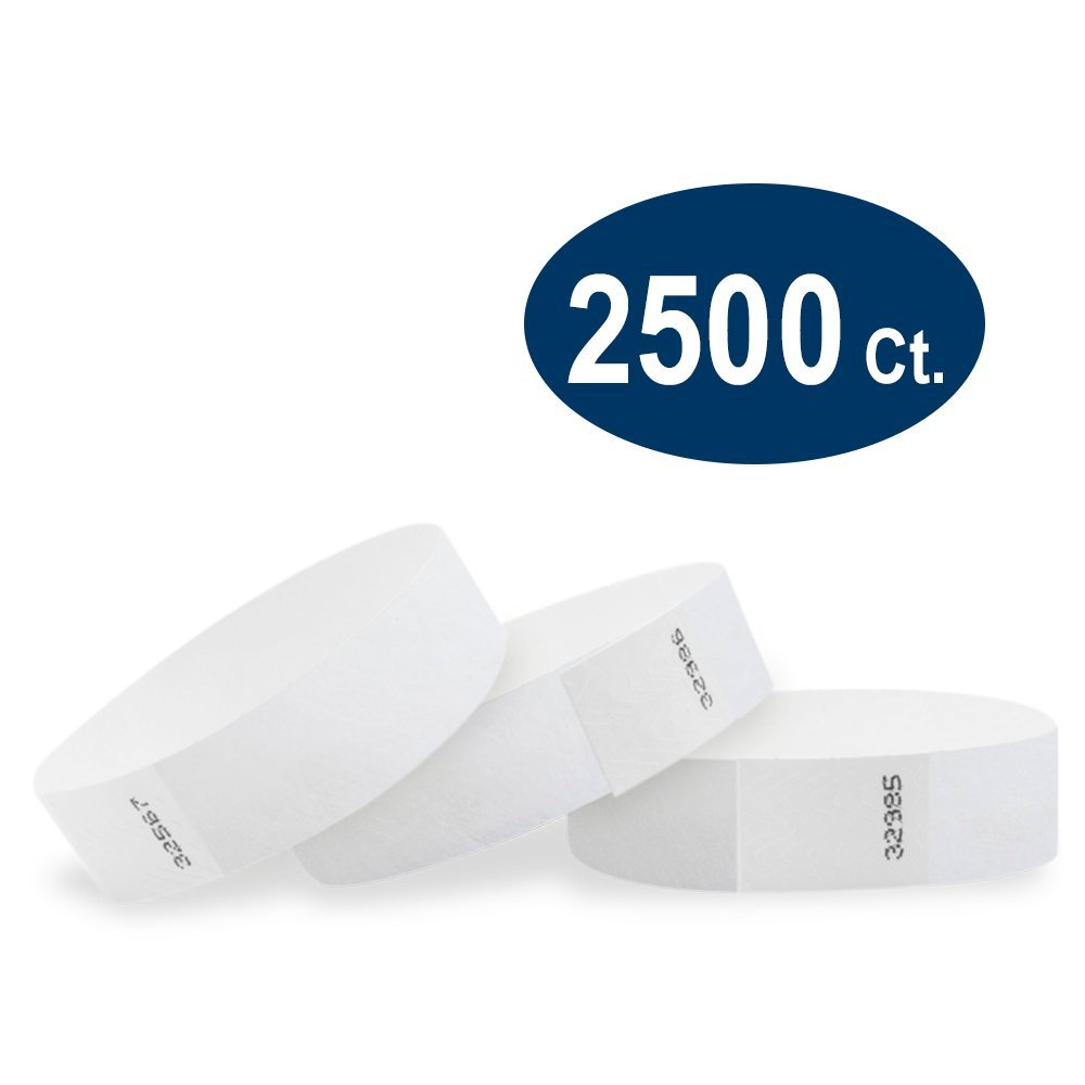 WristCo White 3/4'' Tyvek Wristbands - 2500 Pack Paper Wristbands for Events by Wristco