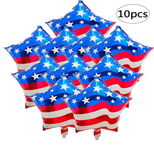 BinaryABC Fourth of July Balloons,4th of July Balloons,American Flag Balloon, Patriotic Party Balloon, Independence Day Labor Day Decoration,10pcs (18inch)