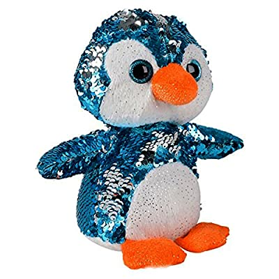 Sequin Plush Penguin~Adorable Stuffed Animal~Reversible Sequins Blue to Silver: Toys & Games