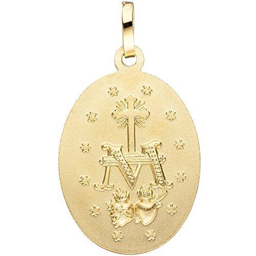 Pendentif sainte Maria milag Rose Ovale en or jaune 333semi-mat