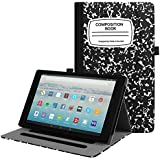 Fintie Case for All-New Amazon Fire HD 10 Tablet (7th Generation, 2017 Release) - [Multi-Angle Viewing] Folio Stand Cover with Pocket Auto Wake/Sleep for Fire HD 10.1 Inch Tablet, Composition Book