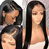 Msbeauty Straight Lace Front Wigs For Black Women Brazilian Human Hair Wigs With Baby Hair 30 Inch 150% Density Pre plucked Natural Hairline Lace Front Wigs Natural Color