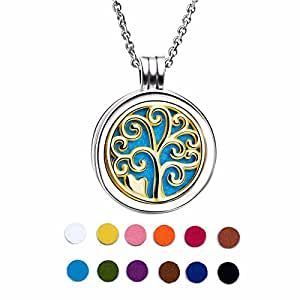 925 Sterling Silver 18K Gold Plated Life Tree Essential Oil Diffuser Locket Necklace