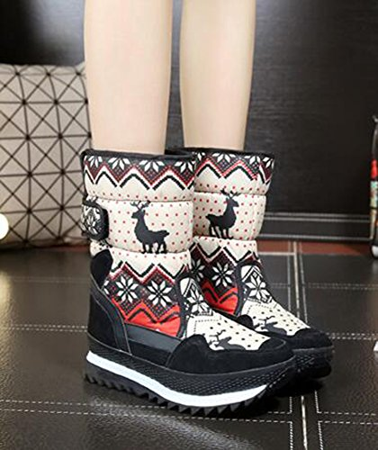 Low Calf Snow Stylish Beige and Hook Fur Mid Faux Waterproof CHFSO Warm loop Womens Lined Winter Boots Heel qgSxvPZ4w