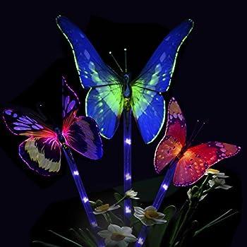 Amazon Com Solar Fiber Optic Butterfly String Lights