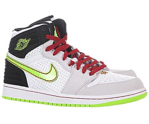 Nike Jordan Men's Air Jordan 1 Retro '93 White/Elctrc Grn/Blk/Ntrl Gry Basketball Shoe 12 Men US