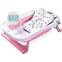 Babybadkar, hopfällbart babyduschbadkar med intelligent temperaturlarm och babykudde, snabb dränering, bärbart halkfritt…