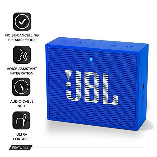 (Renewed) JBL Go + Portable Wireless Bluetooth Speaker with Mic (Blue)
