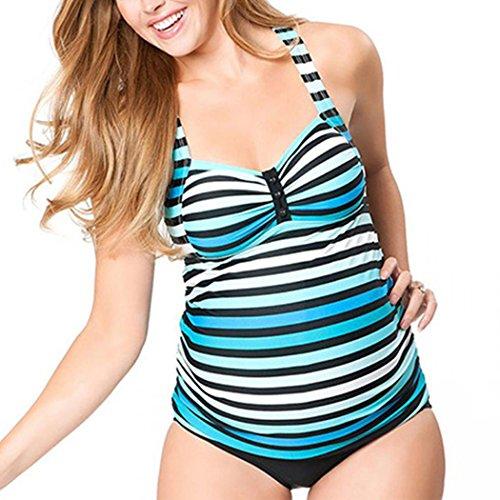 Striped Maternity Tankini Halter Pregnancy Swimsuit Two Piece 2XL