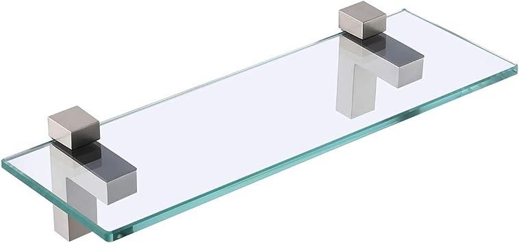 Amazon Com Kes Bathroom Shelf Tempered Glass Shelf 14 Inch 8mm Thick Wall Mount Rectangular Brushed Nickel Bracket Bgs3201s35 2 Furniture Decor