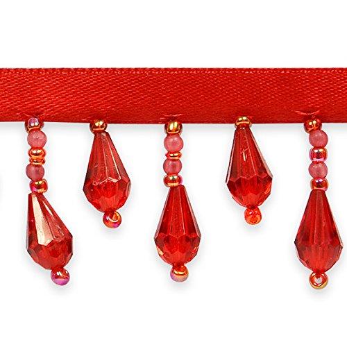 Expo International Joanne Beaded Teardrop Fringe Trim Embellishment, 10-Yard, Red