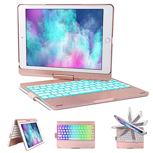 iPad Keyboard Case for iPad 6th gen - iPad 5th gen- iPad Pro 9.7- iPad Air 2- Air, 360 Degree Rotatable -Auto Sleep Wake- Wireless Bluetooth Backlit Keyboard Case with Pencil Holder (Rose Gold) by KVAGO (Image #7)
