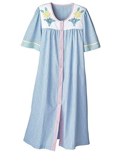 National Seersucker Snap-Front Housecoat, Blue, Medium - Lady Housecoat