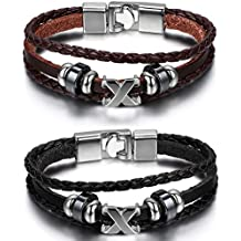 2 PCS Oidea Mens Womens Punk Rock Multistrand Leather Braided Bracelet Wristband Rope 8.5In,with Gift Bag