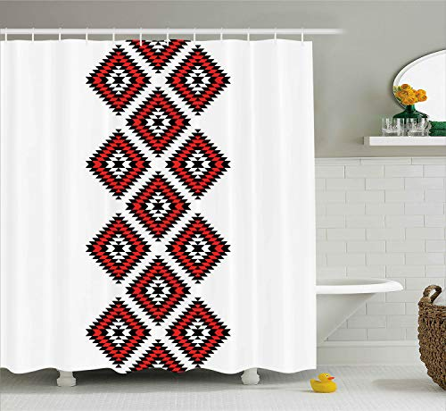 Ambesonne Tribal Shower Curtain, Native Design American Style Zig Zag Aztec Motifs with Ornaments Image, Cloth Fabric Bathroom Decor Set with Hooks, 84 Inches Extra Long, Vermilion White