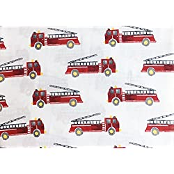 Red Fire Trucks Engines on White, Rugged Bear 4 Piece Kids Boys Full Size Double Bed Cotton Sheet Set