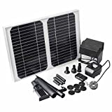 (US) BACOENG 12W 500LPH Solar Power Panel Kit Solar Submersible Fountain Water Pump Aquarium Hydroponic Pond LED+BATTERY