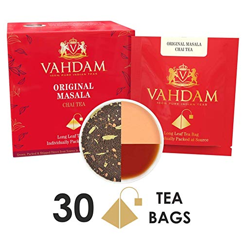 India's Original Masala Chai Tea Bags, 30 TEA BAGS, 100% NATURAL SPICES & NO ADDED FLAVOURING - Blended & Packed in India - Black Tea, Cardamom, Cinnamon, Black Pepper & Clove - Black India Organic Tea