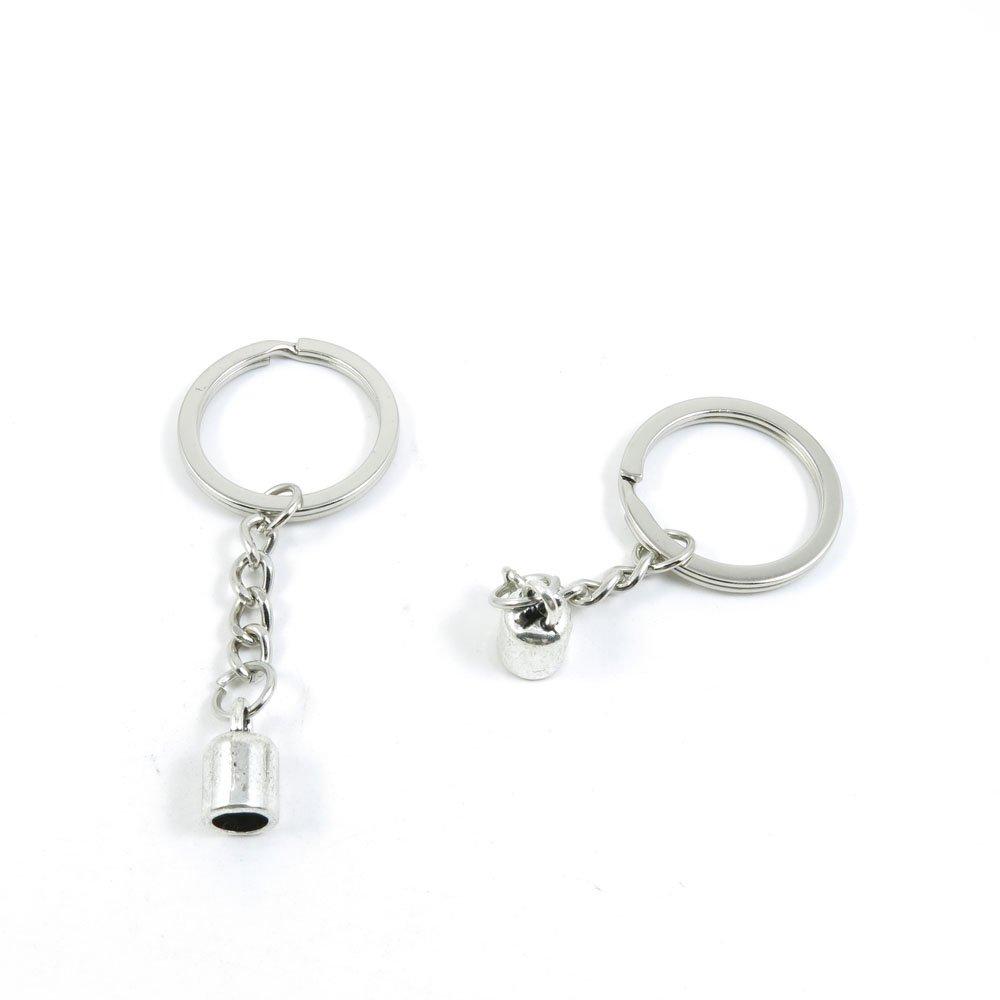 100 Pieces Keychain Door Car Key Chain Tags Keyring Ring Chain Keychain Supplies Antique Silver Tone Wholesale Bulk Lots A7QG8 Tassels Head