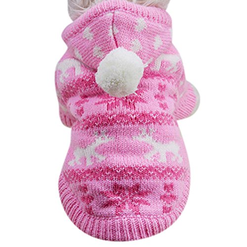 Christmas Pet Dog Puppy Clothes, AMA(TM) Small Dog Knit Winter Warm Hooded Sweater Knitwear Doggie Hoodie Coat Apparel Costume (L, Pink)