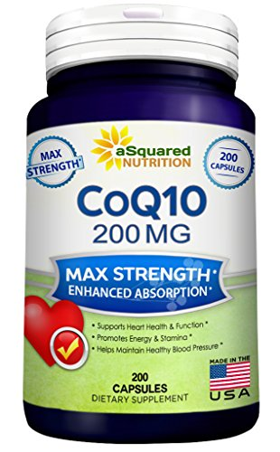 Pure CoQ10 (200 Capsules, High Potency 200mg) - High Absorption CO Q-10 Enzyme Ubiquinone Supplement Pills, Extra Antioxidant Coenzyme Q10 Vitamin Tablets, COQ 10 for Healthy Blood Pressure & Heart