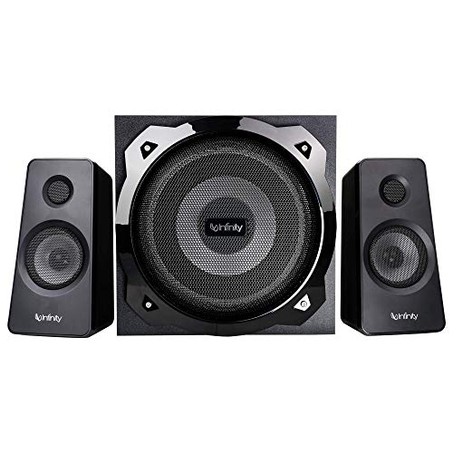 Infinity Hardrock 210 by Harman (JBL, HK, Infinity), 100W Output, 2.1 Channel Multimedia Speaker with Remote, LED Illuminated Subwoofer for Deep Bass, Eco Mode, Bluetooth, USB & AUX Connectivity