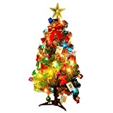 Christmas Tree, Outgeek 60cm (24in) LED Artificial Christmas Tree with Pinecone Small Santa Apple Ribbon Star Ornaments String Light