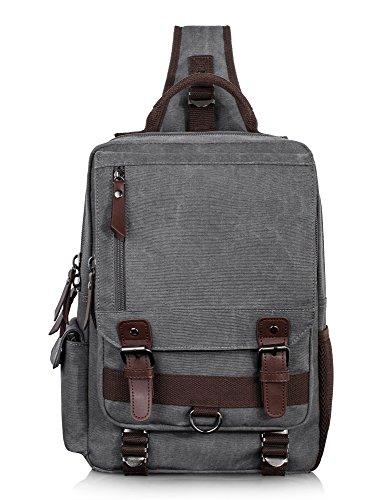 Leaper Canvas Message Sling Bag Outdoor Cross Body Bag Messenger Shoulder Bag (Large,Gray)
