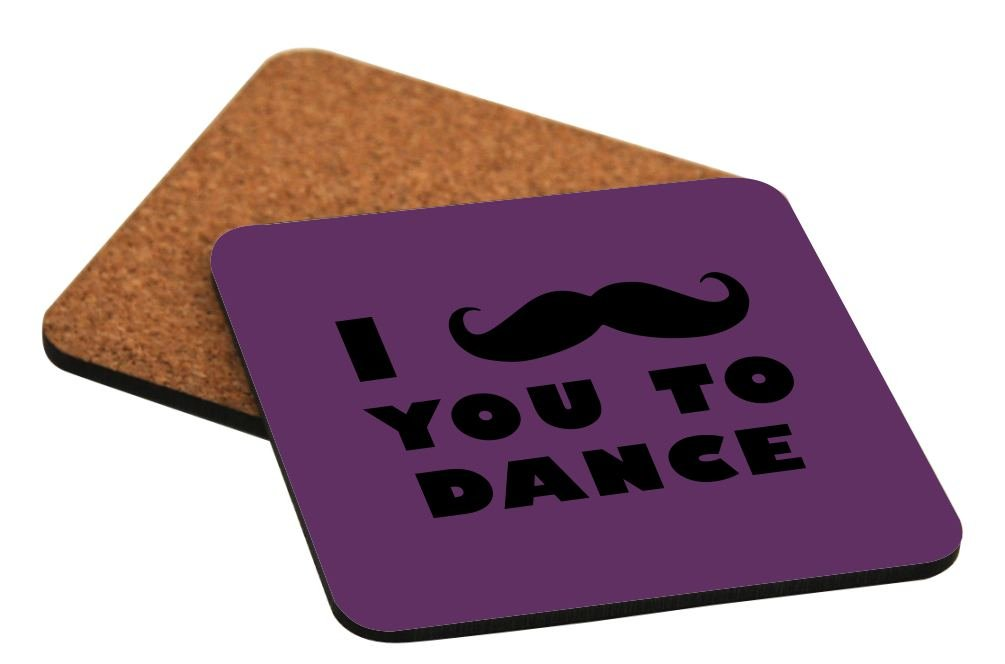 Rikki Knight I Mustache You To Dance Purple Color Design Cork Backed Hard Square Beer Coasters, 4-Inch, Brown, 2-Pack