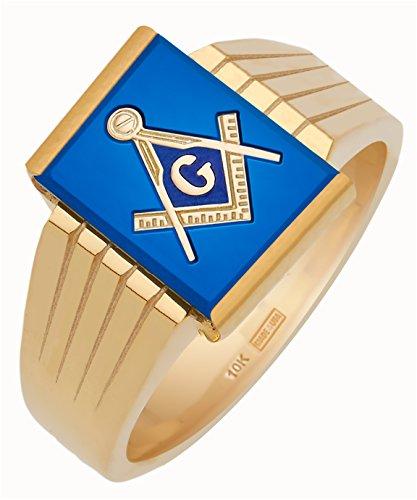 Men's 10k Open Back Gold Masonic Freemason Mason Ring Mens Open Back Masonic Ring