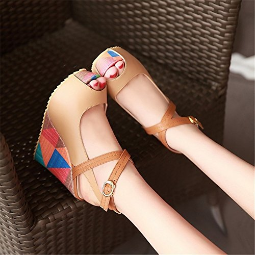 Spring Comfort B White Wedding Party Shoes Evening Peep Wedge Size Almond Heel Fall Color Toe Blue 36 Heels amp; Women's PU UIAqwqE