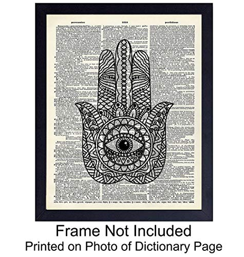 Upcycled Dictionary Wall Art Print - Vintage 8x10 Unframed Photo - Great Gift For Meditation and Yoga Lovers - Chic Home Decor - Hamsa Hand of Fatima