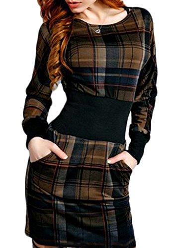 Smile YKK Long Sleeve Kariert Damen Kleid Slim Fit Party Kleid ...
