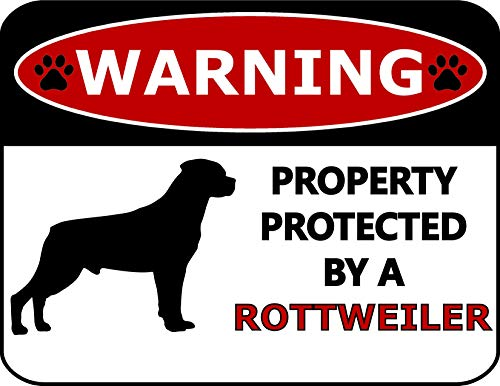 Top Shelf Novelties Warning Property Protected by A Rottweiler (Silhouette) Laminated Dog Sign SP399 (Includes Bonus I Love My Dog Decal)