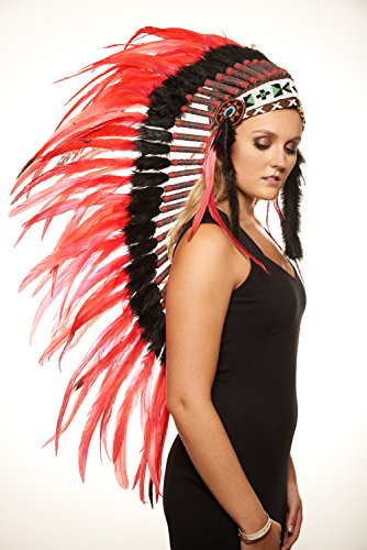 [Native American Red Wolf Headdress (Unisex Adult; One Size)] (Indian Wolf Headdress Costume)