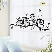 Fiveren 2pz vinyl Art Cartoon Family gufi sull' albero rami adesivo rimovibile adesivi per bambini neonati bambini camere da letto soggiorno bagno cucina domestica ufficio carta da parati TV sfondo