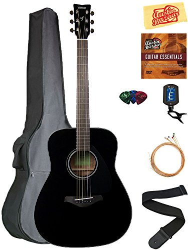 Yamaha FG800 Acoustic Guitar – Black Bundle with Gig Bag, Tuner, Strings, Strap, Picks, Austin Bazaar Instructional DVD, and Polishing Cloth