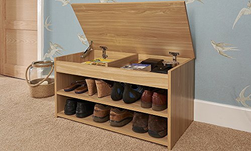 Home Source Shoe Storage Cabinet Rack Wooden Hallway Storage Bench with Lift Up Lid - Oak