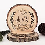 Wooden Wedding Cake Toppers Personalzied Initials with Heart,Engraved Mr and Mrs Cake Topper Rustic Country Wedding Decor
