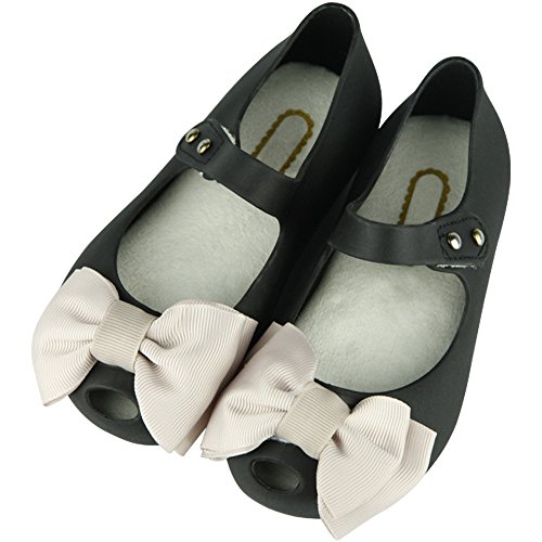 iFANS Girls Princess Cloth Bow Jelly Shoes Mary Jane Flats for Toddler Little Kids