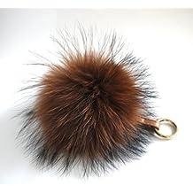 AURORA168 Fluffy Fur Pom Pom Ball Keyring / Bag Purse Charm Gold Ring, X-large - Caramel Brown