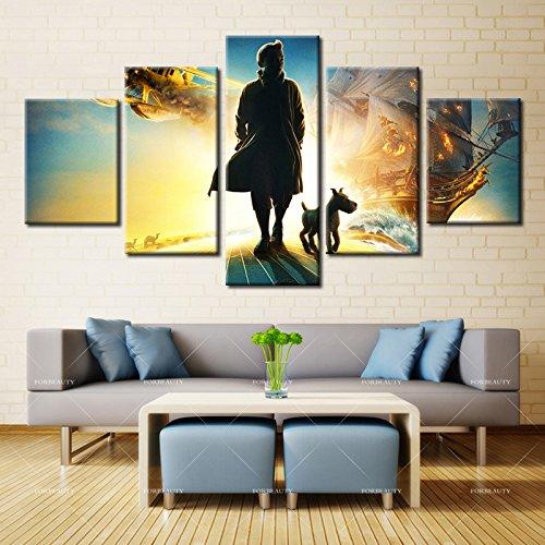 5パネル現代ホーム壁アートHD画像キャンバスPrintingsリビングルーム装飾テーマthe Adventures of Tintin 12X16 12X24 12X32 LH-5-S2042 B076P6ZVBY No Framed 12X16 12X24 12X32