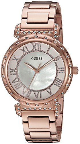 Mop Dial Rose (GUESS Women's U0831L2 Dressy Rose Gold-Tone Watch with MOP Dial , Crystal-Accented Bezel and Stainless Steel Pilot)