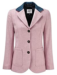 Womens Tweed Blazer With Contrast Collar Candy